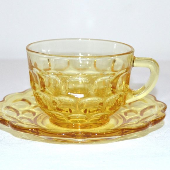 Unbranded Other - Vintage Yellow Gold Glass Cup and Saucer Set of 2